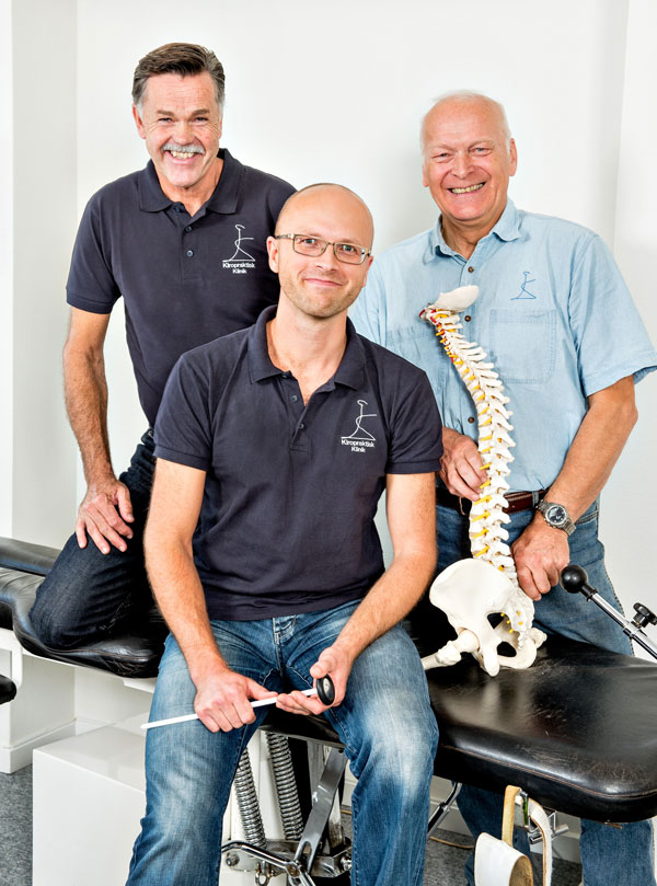 Kiropraktorerne Bruno Christiansen, John B. Madsen og Rune Martinsen, ansatte ved Kiropraktisk Klinik, Holstebro